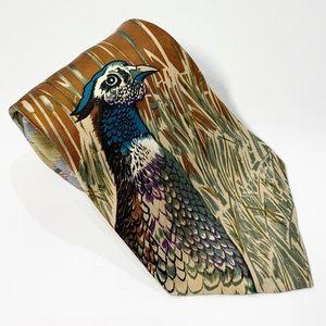 Wembley Brown and Teal Pheasant Print Necktie